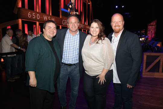 Pictured (L-R): Selah's Allan Hall; Grand Ole Opry Vice President and General Manager Pete Fisher; Selah's Amy Perry and Todd Smith. Photo: Chris Hollo for Grand Ole Opry