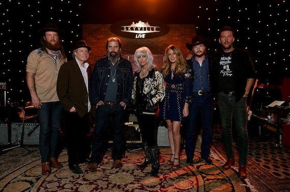 Pictured (L-R): John Osborne (Brothers Osborne), Buddy Miller, Steve Earle, Emmylou Harris, Margo Price, Colter Wall, and TJ Osborne (Brothers Osborne). Photo Credit: John Shearer / Getty Images