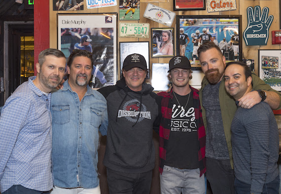 Pictured (L-R): BMLG COO Andrew Kautz, Dot Records' Chris Stacey, BMLG President/CEO Scott Borchetta, Tucker Beathard, Dot Records' Kris Lamb and Big Machine Music's Mike Molinar. Photo: Steve Lowry