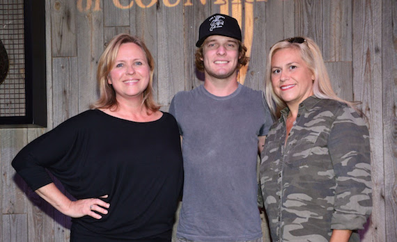 Pictured (L-R): Lisa Lee, ACM; Tucker Beathard; Brooke Primero, ACM. Photo: Michel Bourquard/Courtesy of the Academy of Country Music