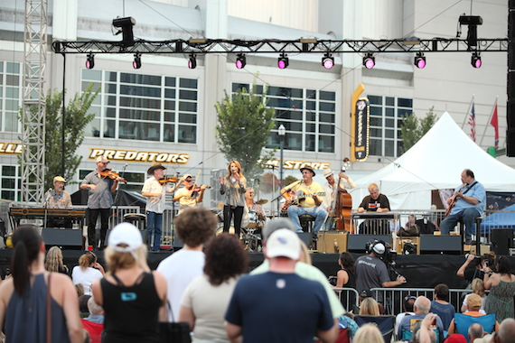 Patty Loveless (center) performs with Grammy-nominated ensemble The Time Jumpers, featuring Jeff Taylor, Larry Franklin, Kenny Sears, Joe Spivey, Billy Thomas, Vince Gill, Brad Albin, Paul Franklin, and Andy Reiss.
