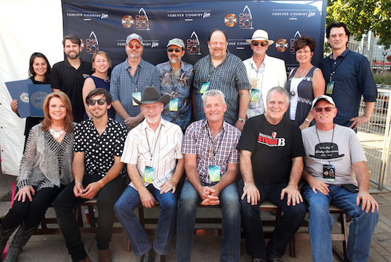 Back row, (L-R): Justine Avila, Music City Council Executive Director; Damon Whiteside, CMA Vice President of Marketing and Strategic Partnerships; Sarah Trahern, CMA Chief Executive Officer; Larry Franklin, Jeff Taylor, Andy Reiss, and Brad Albin of The Time Jumpers; Sharon Brawner, Country Music Hall of Fame and Museum Senior Vice President of Sales and Marketing; and Peter Cooper, Country Music Hall of Fame and Museum Editor. Front row (L-R): Patty Loveless, Charlie Worsham, and The Time Jumpers' Kenny Sears, Billy Thomas, Paul Franklin, and Joe Spivey.