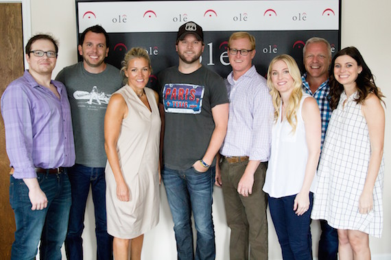 (L-R): Noah McPike, Ben Strain, Creative Director, ole; Leslie Roberts, Executive Director, Writer/Publisher Relations, BMI; Singer/Songwriter Jacob Powell; John Ozier, VP Creative, ole; Shellien Kinsey, Creative Admin Manager, ole; Mike Whelan, Sr. Creative Director, ole; Emily Mueller, Creative Manager, ole.