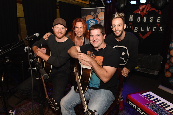 Pictured (L-R): Eric Paslay, Victoria Shaw, Rob Hatch, and Wrabel get ready to take the stage for the CMA Songwriters Series Tuesday in the Parish at House of Blues New Orleans. Photo: Erika Goldring / CMA