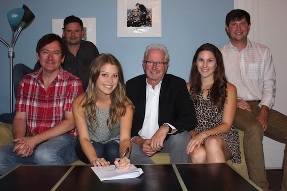 Pictured (L-R): Dave Rose, President, Deep South Entertainment; Micah Wilshire, VP of TV/Film, Young Guns Publishing; Katie Garfield; Cliff Downs, President, Young Guns Publishing; Aubrey Rupe, Creative Director, Young Guns Publishing; Will Hamrick, VP/GM, Young Guns Publishing
