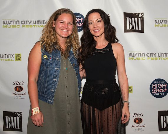 BMI Americana artist Amanda Shires poses with BMI's Nina Carter backstage at the BMI stage at ACL Fest.