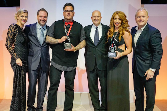 2016 SESAC Publisher of the Year are SONY/ATV/EMI FORAY Publishing and Write 2 Be Free Music. Pictured Left to Right: SESAC's Shannan Hatch, Josh Van Valkenburg, Josh Hoge, SESAC's Sam Kling, Hannah Williams and Troy Tomlinson.
