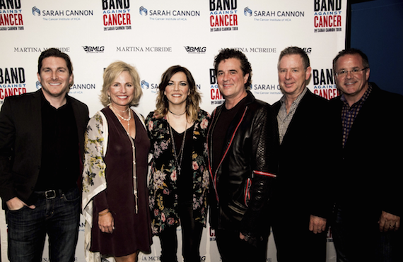 Pictured (L-R): Big Machine Label Group's John Zarling, Sarah Cannon's Dee Anna Smith, Martina McBride, BMLG's Scott Borchetta and Jim Weatherson, Grand Ole Opry's Pete Fisher