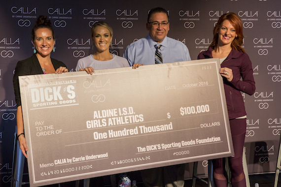 L-R: Jennifer Moreau/Dick's Director of Communications, Carrie, Richard Delgato/A.I.S.D Athletic Director, Julia Morales/Houston Sports Reporter
