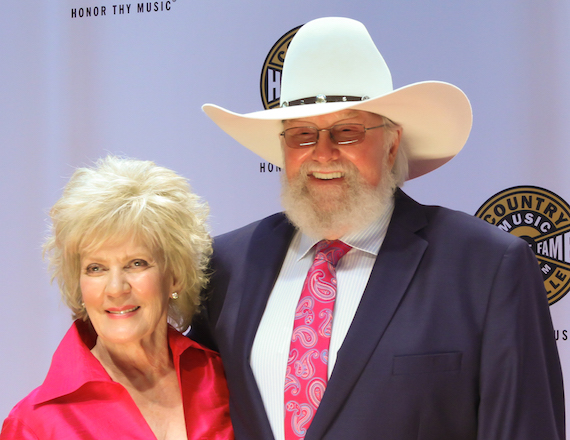 Charlie Daniels with wife Hazel on the CMHoF Medallion Ceremony Red Carpet. Photo: Bev Moser, Moments By Moser