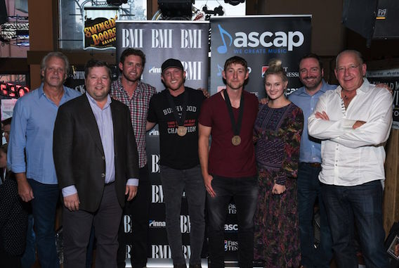Pictured (L-R): Combustion Music's Chris Farren, BMI's Bradley Collins, Warner Chappell's Ryan Beuschel, Cole Swindell, Ashley Gorley, ASCAP's Beth Brinker, Sony ATV's Josh VanValkenburg, Warner Music Group's John Esposito Photo: Steve Lowry