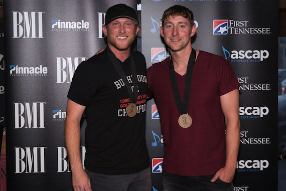 "Cole Swindell and Ashley Gorley celebrate the success of ""You Should Be Here."" Photo: Steve Lowry"