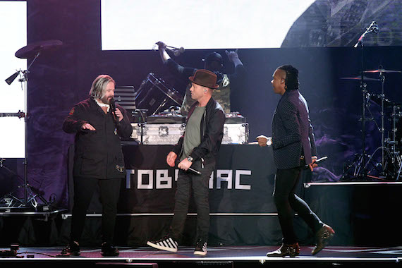 Pictured (L-R): Kevin Max, Toby McKeehan and Michael Tait. Members of DC Talk reunite during TobyMac's performance during the 2016 Dove Awards at Allen Arena, Lipscomb University on October 11, 2016 in Nashville, Tennessee. Photo: Terry Wyatt/Getty Images for Dove Awards