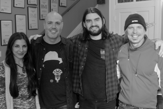 Pictured (L-R): 3 Ring Circus Music Director of A&R/Artist Management Casey Le'Vasseur, 3 Ring Circus Music GM Darrell Franklin, Davis Naish, 3 Ring Circus Music President Jeffrey Steele. Photo: Colin M Lewis - Stella Cadente ENT