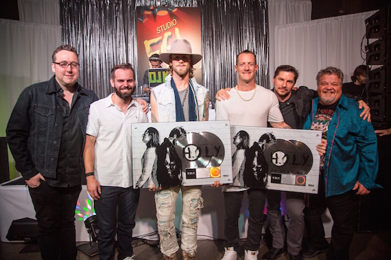 "Pictured (L-R): Big Loud Mountain's Joey Moi, Seth England, FGL's Brian Kelley, Tyler Hubbard and Big Loud Mountain's Kevin ""Chief"" Zaruk, Craig Wiseman"