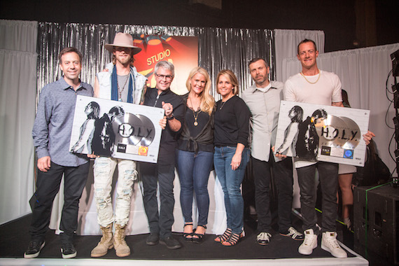 Pictured (L-R): BMLG Records VP Promotion Matthew Hargis, Brian Kelley, BMLG EVP/BMLG Records President Jimmy Harnen, BMLG SVP of A&R Allison Jones, BMLG SVP of Sales, Marketing and Interactive Kelly Rich, BMLG COO Andrew Kautz and Tyler Hubbard