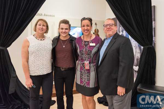 Pictured (L-R): Sarah Trahern, CMA Chief Executive Officer; Hunter Hayes; April Salomon, MIM Executive Director; and Neal Spielberg. Photo: Jessica Savidge