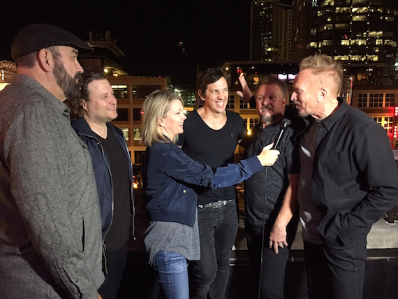 """Pictured (L-R): NewSong's Billy Goodwin, Mark Clay, Matt Butler, Jack Pumphrey and Eddie Carswell speak with """"Nashville Insider's"""" Jennifer Vickery Smith following the tour lineup announcement."""