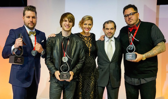 """2016 SESAC Nashville Music Awards Song of the Year """"Somewhere On A Beach"""" recipients Jaron Boyer and Michael Tyler, SESAC VP of Creative Services Shannan Hatch, SESAC Chairman and CEO John Josephson, and SESCAC Songwriter of the Year Josh Hoge (right)."""