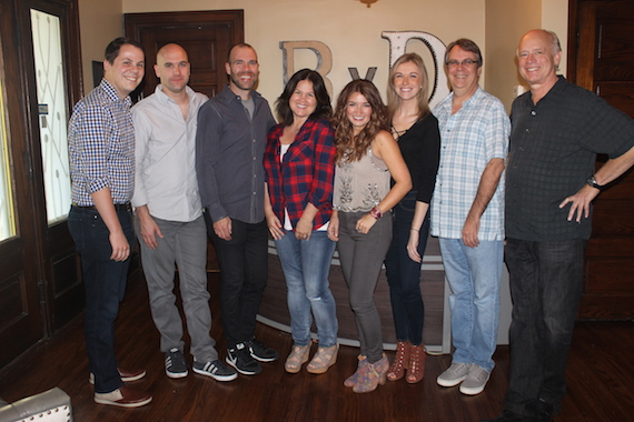 Pictured (L-R): Dustin Kovacic, Attorney, Dickinson Wright; Robert Filhart, Creative Director, ASCAP; Austen Adams, Attorney, Dickinson Wright; Carla Wallace, Co-Owner, Big Yellow Dog; Tenille; Lauren Funk, Creative Manager, Big Yellow Dog; Matt Lindsey, VP Creative, Big Yellow Dog; Kerry O'Neil, Co-Owner, Big Yellow Dog