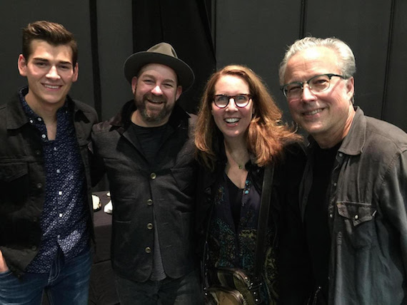 Pictured (L-R): Cast member Zach Seabaugh, Troubadour composer Kristian Bush, playwright Janece Shaffer, and Radney Foster. Photo: A'riel Tinter.