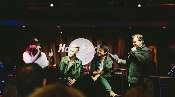 Pictured (L-R): Crowder, Colton Dixon, Mike Donehey of Tenth Avenue North, and NewSong's Russ Lee participate in a Q&A with fans at the launch event.