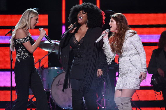 Pictured (L-R): Kelsea Ballerini, Jill Scott, Meghan Trainor. Photo: John Shearer/Getty Images for CMT