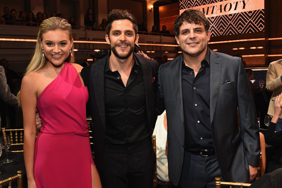 Pictured (L-R): Kelsea Ballerini, Thomas Rhett, Rhett Akins. Photo: Rick Diamond/Getty Images for CMT