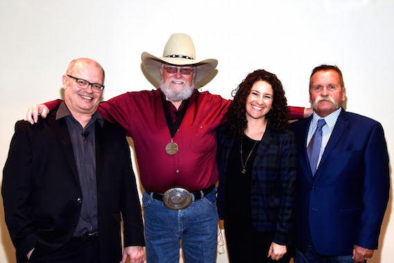 Pictured (L-R): the Country Music Hall of Fame and Museum's Michael McCall, Charlie Daniels, the Country Music Hall of Fame and Museum's Abi Tapia, and manager David Corlew