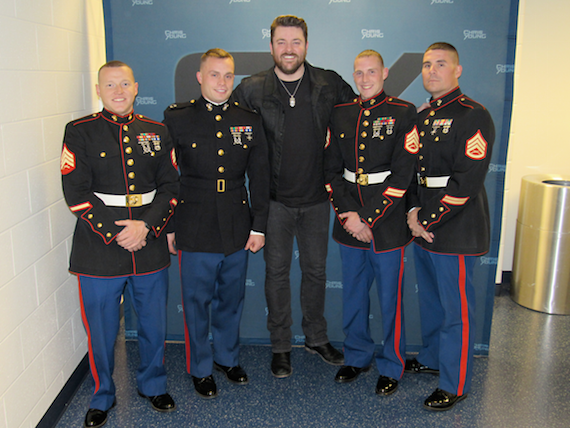 U.S. Marine Corps Reserve members join Chris Young in Newark, DE to collect toy and gift donations for Toys For Tots. Photo: Bill Cracknell