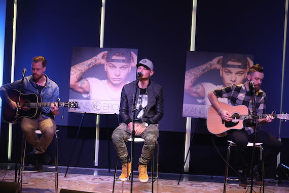 Pictured (L-R): Jimmie Deeghan, RCA Nashville/Zone 4's Kane Brown; and band member Alex Anthony.