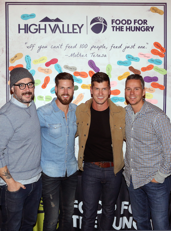 Pictured: Shawn Blackney, Artist Relations Manager, Food For The Hungry; High Valley's Curtis and Brad Rempel; Daniel White, Director of Entertainment Division, Food For The Hungry. Photo: Alan Poizner