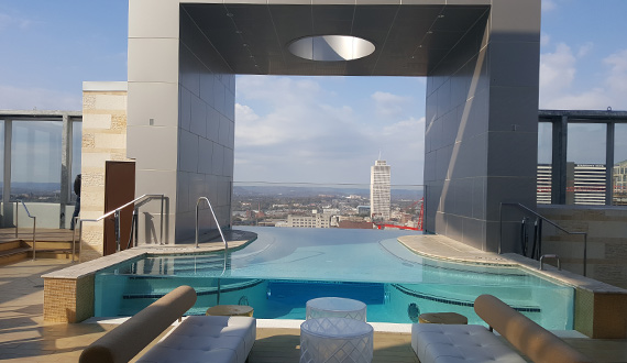 Nashville Westin's view of the Tennessee Tower from the pool. Photo: Bev Moser/Moments by Moser