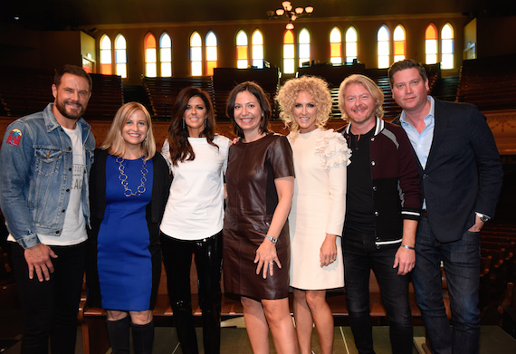 Pictured (L-R): Jimi Westbrook, Nashville mayor Megan Barry, Karen Fairchild, Ryman Auditorium GM Sally Williams, Kimberly Schlapman, Phillip Sweet, and Sandbox Management's Jason Owen.