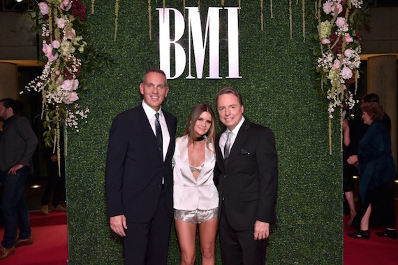 Pictured (L-R): President and CEO of BMI Michael O'Neill, singer-songwriter Maren Morris, and Vice President, Writer/Publisher Relations at BMI Jody Williams. Photo: John Shearer/Getty Images for BMI