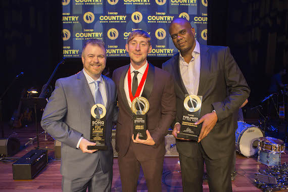 Publisher and Song of the Year honoree Warner Chappell's Ben Vaughn, Songwriter of the Year Ashley Gorley, Publisher and Song of the Year honoree Warner Chappell's Jon Platt