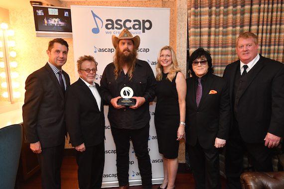 ASCAP's Michael Martin and President and Chairman Paul Williams, ASCAP Vanguard Award honoree Chris Stapleton, ASCAP's CEO Elizabeth Matthews, EVP of Membership John Titta and Mike Sistad