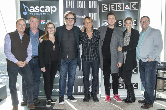 Pictured (L-R): BMI's Jody Williams, ASCAP's Mike Sistad, BMG's Sara Knabe, Greg Wells, Keith Urban, JHart, SESAC's Shannon Hatch and Universal's Kent Earls. Photo: John Russell.