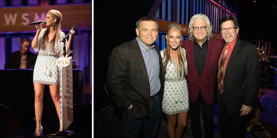 The Grand Ole Opry's Dan Rogers; Brooke Eden; Grand Ole Opry member Ricky Skaggs; Grand Ole Opry announcer Mike Terry. Photo: Chris Hollo/©2016 Grand Ole Opry