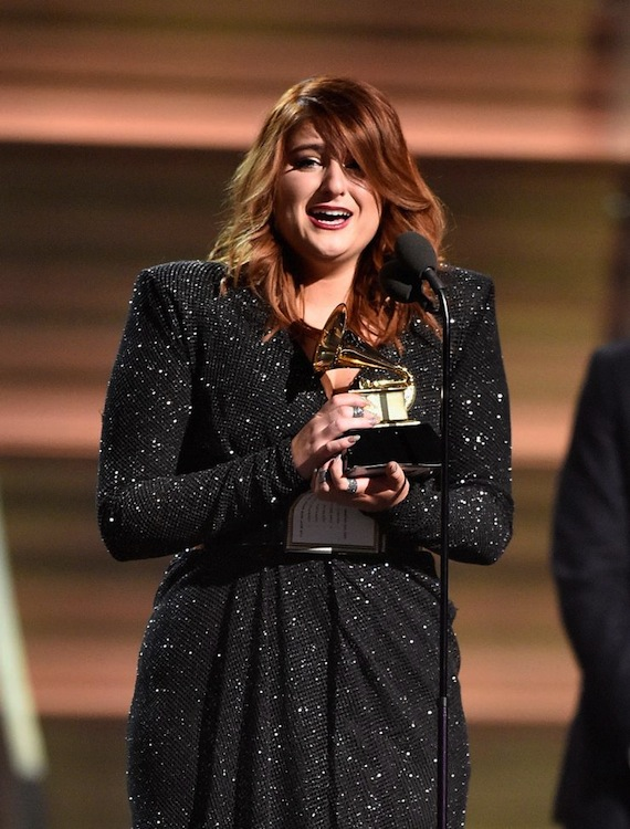 Meghan Trainor wins a 2016 Grammy. Photo: Kevork Djansezian/Getty Images, courtesy Grammy.com