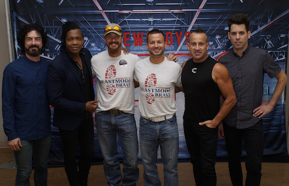 """(L-R): Newsboys' Jody Davis and Michael Tait; Guardian for Heroes' Jeff Kyle; BeastMode for the Brave's George Chmiel; and Newsboys' Duncan Phillips and Jeff Frankenstein backstage at Nashville's Curb Event Center before Friday's """"Love Riot Tour"""" stop. (Credit: KohlPhoto)"""