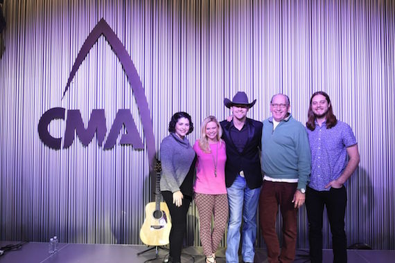 Pictured (L-R): Angela Roland, Awards & Industry Relations Assistant,CMA; Brandi Simms, Sr. Director of Awards & Industry Relations, CMA; William Michael Morgan; John Esposito, Chairman & CEO, WMN; Brenden Oliver, Manager of Awards & Industry Relations, CMA