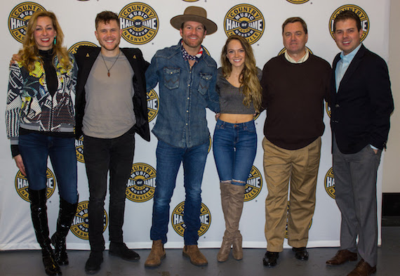 Pictured (L-R): Country Music Hall of Fame and Museum's VP of Development Lisa Purcell, Trent Harmon, Drake White, Danielle Bradbery, Ford Motor Company Fund's Jim Graham and Country Music Hall of Fame and Museum's Ben Hall. (Photo courtesy of Country Music Hall of Fame and Museum)
