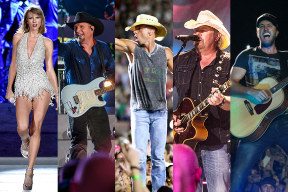 Pictured (L-R): Taylor Swift, Garth Brooks, Kenny Chesney, Toby Keith, Luke Bryan