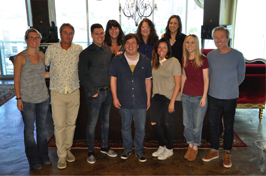 Pictured (Back Row, L-R): Kimberly Holcombe (Kobalt), Stephanie Cox (Kobalt), Brooke Yancey (Kobalt); (Front Row L to R): Sara Beal (Still Working Music), Chuck Fleckenstein (Still Working Music), Jesse Willoughby (Kobalt), Gordie Sampson, Laura Alexander (Kobalt), Chelsea Kent (Still Working Music), Tommy Lee James (Still Working Music) Not Pictured: Alex Orbison (Still Working Music)
