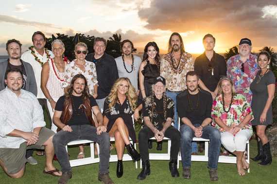 Pictured (L-R): Back Row: BMI songwriter Paul Doucette, sponsors Danny and Claudia Goodfellow, BMI's Leslie Roberts, BMI songwriters Shawn Camp, Charlie Worsham, Aubrie Sellers, Marti Frederiksen, Ethan Ballinger and Dallas Wayne and BMI's Mary Loving. Front Row: BMI's Mason Hunter, BMI songwriter Lukas Nelson, songwriter Lee Ann Womack, BMI songwriters Willie Nelson, Eric Church and Liz Rose. Photo: Erika Goldring