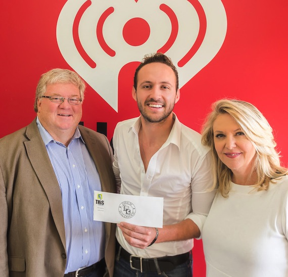 Pictured from L-R: Rick Murray, VP Integrated Marketing/Promotions at Premiere Networks, Cold River's Drew Baldridge, and Tinti Moffat, Executive Director for The T.J. Martell Foundation; Southern Region.