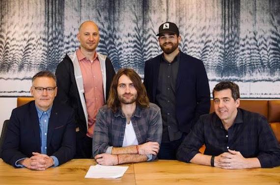 Pictured (First Row, L-R): Randy Goodman - Sony Music Nashville Chairman & CEO, Ryan Hurd, Ken Robold – Sony Music Nashville COO. (Back Row, L-R): George Couri - Triple 8 Management, Bruce Kalmick - Triple 8 Management