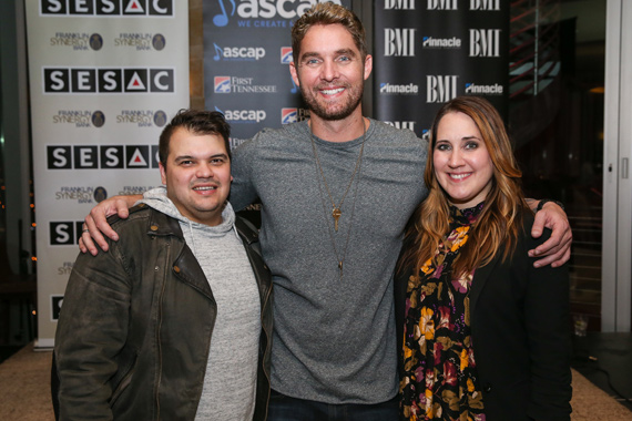 Pictured (L-R): Co-writers Justin Ebach (SESAC), Brett Young (ASCAP), Kelly Archer (BMI). Photo: Terry Wyatt